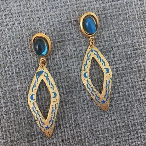 Vintage Blue and Gold Earrings